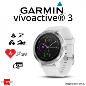 Garmin Vivoactive 3 GPS Heart Rate Smartwatch White with Stainless Hardware