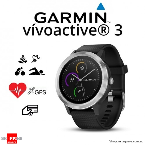 Garmin Vivoactive 3 GPS Heart Rate Smartwatch Black with Stainless Hardware