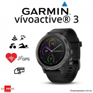 Garmin Vivoactive 3 GPS Heart Rate Smartwatch Black with Slate Hardware