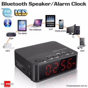 Bluetooth Speaker with Digital LED Display Alarm Clock Amplifier FM Radio Mp3 Music Player Function