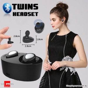 Bluetooth Earpods Headset Earbuds with Charging Dock for iPhone Android Windows Phone - Black/Silver