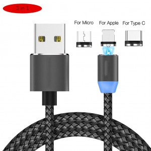 2.1A 3 in 1 Magnetic Charging Cable with Micro USB/Lightning/Type-C Connectors