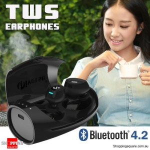 TWS Truly Wireless Mini Dual Bluetooth V4.2 Noise Canceling Headphones Earphones with Charging Box-Black