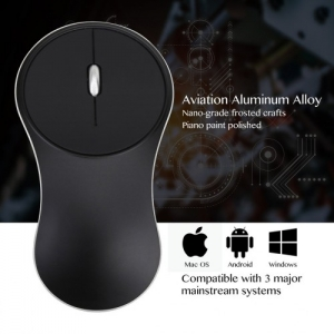 Wireless 2.4GHz Aluminium Alloy Optical Mouse for Windows PC Android Mac OS - Black Colour