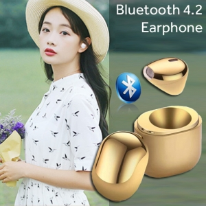 IP8 Bluetooth 4.2 Wireless Mini Invisible In-ear Sports Earphone with Charging Case Gold Colour