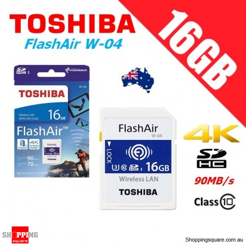 Toshiba FlashAir 16GB Class10 SDHC Memory Card 90MB/s (W-04) -  Shoppingsquare Australia