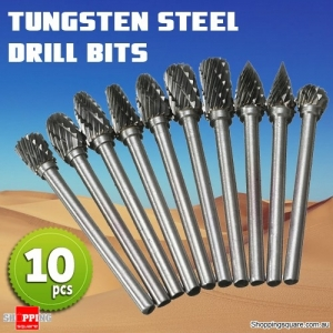 10Pcs of 1/8 Inch Shank Tungsten Carbide Burr Drill Bits Cutter Files Set for Rotary Tool