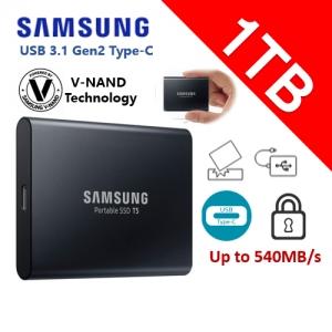 Samsung 1TB Solid State Drive  T5 USB3.1 540 MB/s Portable  SSD(MU-PA1T0B)