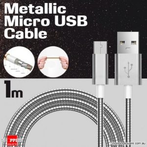 1m Metallic Stainless Steel Micro USB Charging Cable Cord for Samsung Galaxy Note LG Android HTC Silver Colour