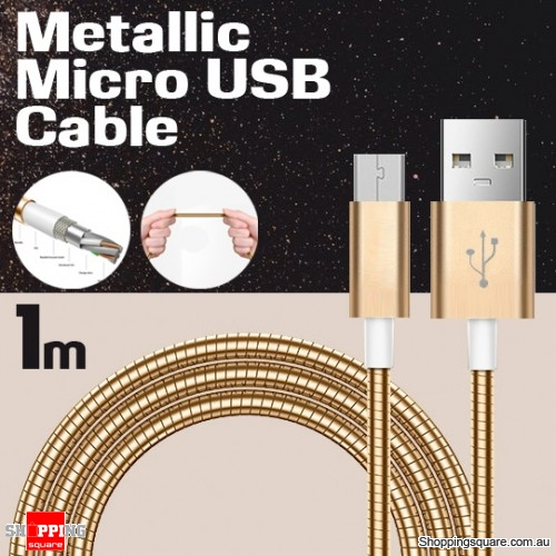 1m Metallic Stainless Steel Micro USB Charging Cable Cord for Samsung Galaxy Note LG Android HTC Gold Colour