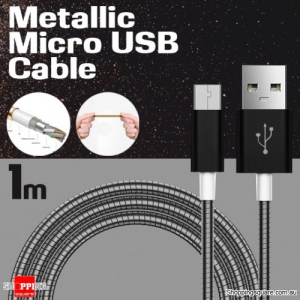 1m Metallic Stainless Steel Micro USB Charging Cable Cord for Samsung Galaxy Note LG Android HTC Black Colour