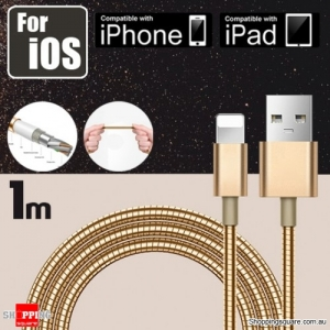1m Metallic Stainless Steel Lightning-Compatible 8-Pin USB Charging Cable for iPhone X 8 Plus 7 6 5 S iPad Air Gold Colour