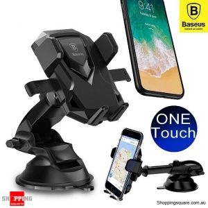 Baseus Universal Windshield Mount Car Holder Cradle For GPS iPhone Samsung Black Colour