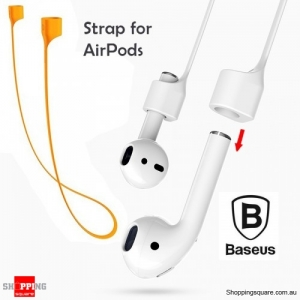 Baseus Silicone Magnetic Flexible Safety Neck Strap for iPhone AirPods Earphone Headphone Orange Colour