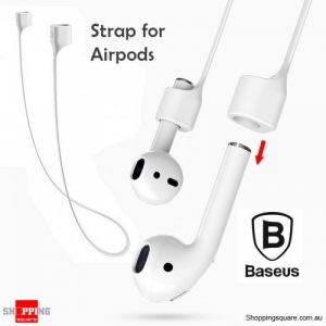 Baseus Silicone Magnetic Flexible Safety Neck Strap for iPhone AirPods Earphone Headphone White Colour