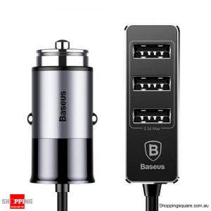 Baseus 5.5A 4 Ports Socket Fast Car Charger For iPhone Samsung Grey Colour