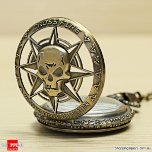 Vintage Hollow Skull Demonic Style Cool Bronze Chain Pocket Watch Decoration Accessories