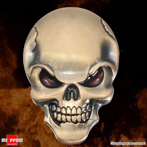 Metal Demonic Skull Bone 3D Car Motorcycle Sticker Emblem Badge Decal - Bronze Colour