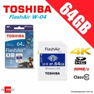 Toshiba FlashAir 64GB Wireless SD SDXC Memory Card WLAN W-04 Class 10 90MB/s