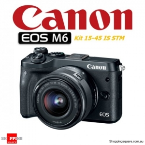 Canon EOS M6 Kit 15-45mm Lens DSLR 24.2MP Full HD 1080p Digital Camera Black