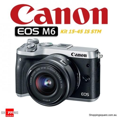 Canon EOS M6 Kit 15-45mm Lens DSLR 24.2MP Full HD 1080p Digital Camera Silver
