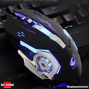 V5 Silent USB Wired Ergonomic 4000DPI Gaming Mouse Metal Plate LED for PC Laptop Black Colour
