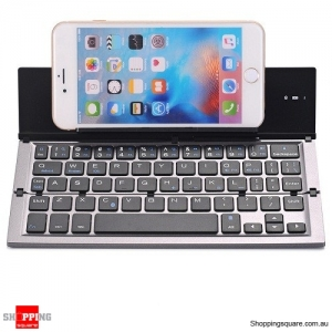 QWERTY Mini Folding Bluetooth 3.0 Keyboard for iPhone Samsung Phone Tablet - Grey Colour