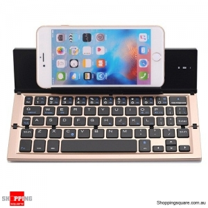 QWERTY Mini Folding Bluetooth 3.0 Keyboard for iPhone Samsung Phone Tablet - Gold Colour