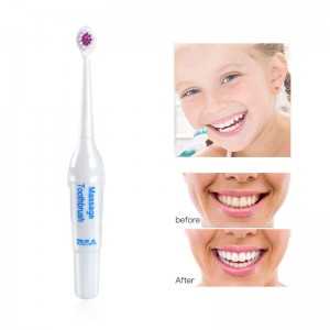 Ultrasonic Battery Electric Toothbrush with 2 Replaceable Brush Heads