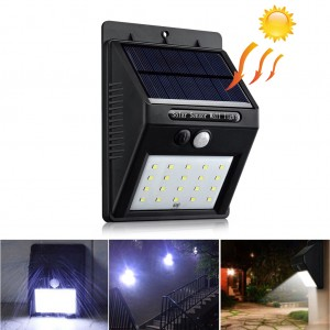 20-LED Waterproof Solar Wall Light PIR Motion Sensor Outdoor Flood Light
