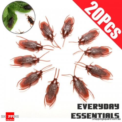 20pcs of Fake Rubber Cockroach Insect Animal Special Lifelike Model Figure for Simulation Prank Funny Trick Joke