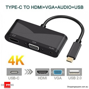 3 in 1 USB-C Type-C to HDMI VGA 3.5mm & Audio Converter Adapter Cable for Macbook