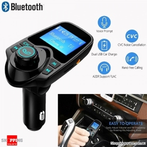 Wireless Bluetooth LCD Audio MP3 Player FM Transmitter Handsfree Car Kit Supported TF Card Black Colour