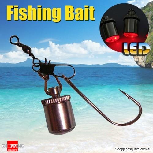 Underwater Drop Fishing Lure Bait with Mini LED Flashing Lamp Light Squid