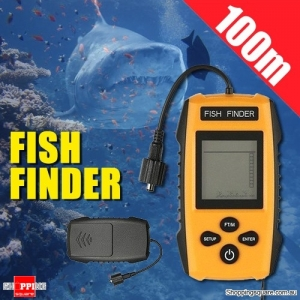 100M Portable Wired Sonar Fish Finder Fishfinder Sensor Probe Transducer Alarm with LCD Display for Fishing