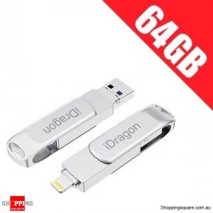 iDragon U013A 2 in 1 OTG USB Flash Drive for iPhone iPad iPod iOS11 - 64GB