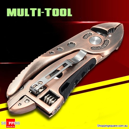 BRONZED Multitool Wrench Jaw Screwdriver Pliers Knife Adjustable Survival Device
