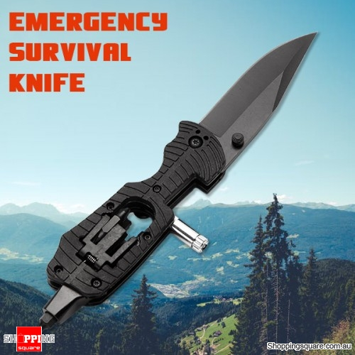Multifunctional Folding Knife Tool for Outdoor Camping Emergency Survival Rescue with LED Light - Black Colour