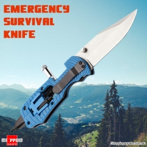 Multifunctional Folding Knife Tool for Outdoor Camping Emergency Survival Rescue with LED Light - Blue Colour