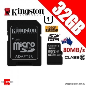 Kingston 32GB Canvas Select microSDHC Class 10 UHS-I 80MB/s 3D Card with Adapter (SDCS)