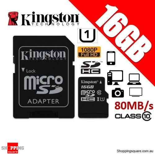 Kingston Canvas Select 16GB micro SD SDHC Memory Card 80MB/s Full HD 1080P + Adapter