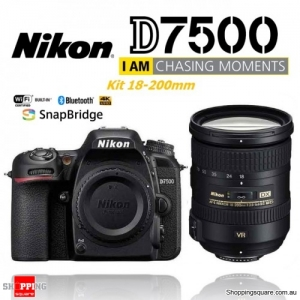 Nikon D7500 Kit 18-200mm VR Digital Camera 20.9MP DSLR  4K Ultra HD Body Black