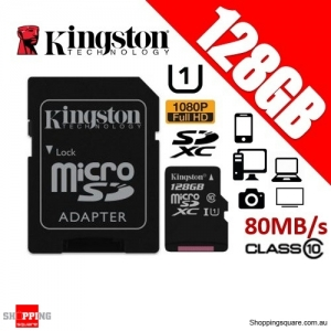Kingston 128GB Canvas Select MicroSDXC Class10 UHS-I 80MB/s Card w/Adapter (SDCS/128GB)