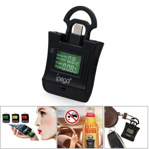 Portable Keychain Breathalyzer Alcohol Drunk Breath Tester for iPhone Android