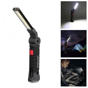 5-Mode Foldable magnetic COB LED Flashlight with Hook - Size L