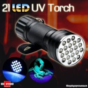 UV Ultra Violet 21 LED 220nM Aluminum Torch Flashlight