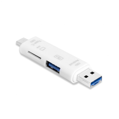 3 in 1 OTG Micro USB / Type C / USB to Micro SD Card Reader - White Colour