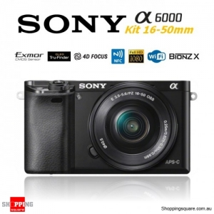 Sony A6000 Alpha 6000 ILCE-6000 (Kit 16-50mm Lens) 24.3MP Digital Camera Black