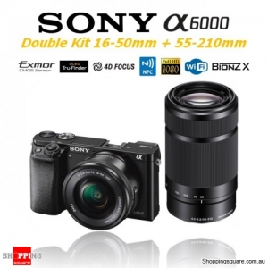 Sony A6000 Alpha 6000 ILCE-6000 (Double Kit 16-50mm & 55-210mm Lenses) 24.3MP Digital Camera Black