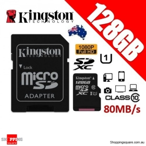 Kingston Canvas Select 128GB micro SD SDXC Memory Card 80MB/s Full HD 1080P + Adapter